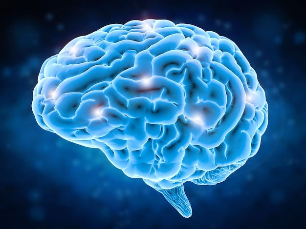 Концепция мощности мозга с 3d-рендерингом блестящего человеческого мозга