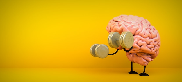Тренировка мозга в желтой комнате, 3d-рендеринг