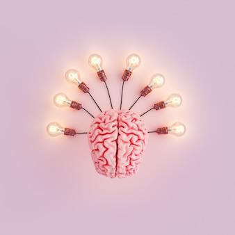 Мозг с подключенными лампочками и подсветкой