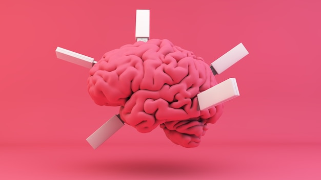 Brain with plugged usb 3d rendering concept