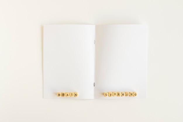 Brainstorming blocks on white paper