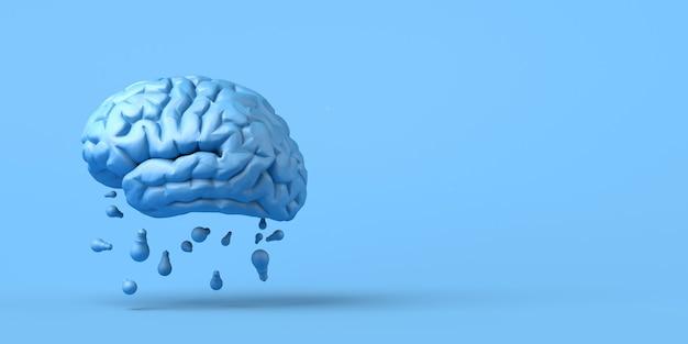 Мозговой штурм. мозг с лампочками. креативность. 3d иллюстрации.