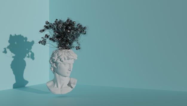 Концепция мозгового штурма дэвидс голова прорастает идеи в виде лампочек d рендеринг