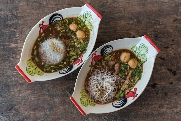Braised beef clear noodle with meat ball soup stew