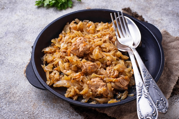 Braised cabbage with a meat