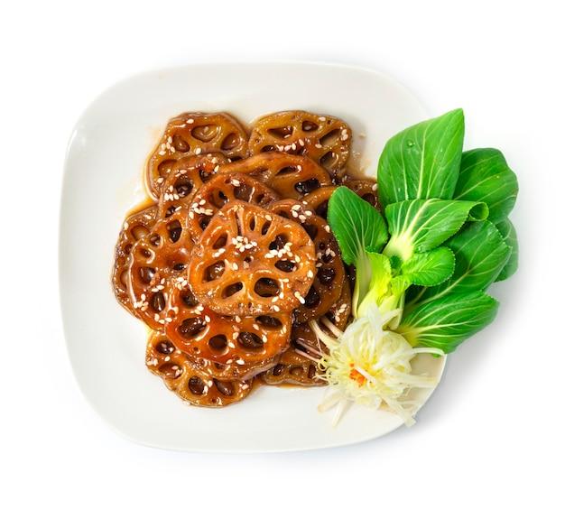연근 조림 연근 조림 단팥 조림은 가장 인기있는 기본 반찬 중 하나입니다.