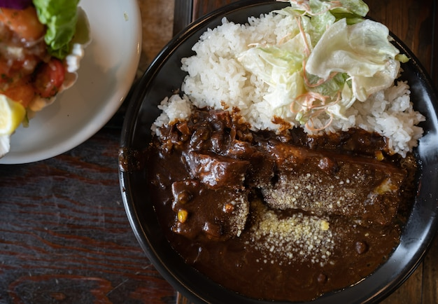 Braised pork cutlet with curry rice