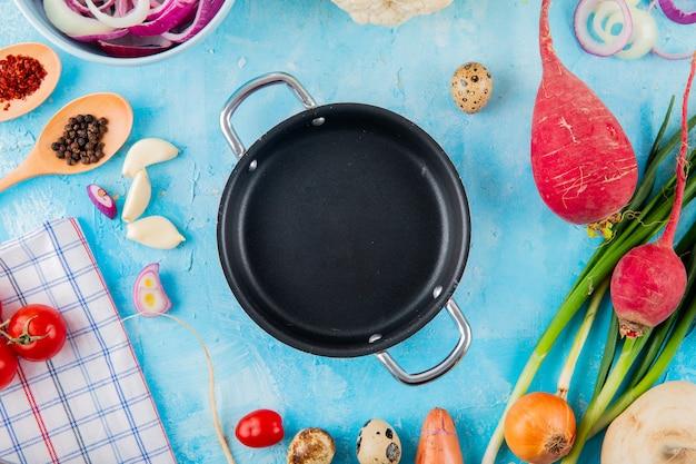 Взгляд конца-вверх овощей как редиска лука чеснока с специями и лотком braiser в центре на голубой предпосылке