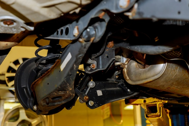 Brakes on a car with removed wheel brakes and suspension