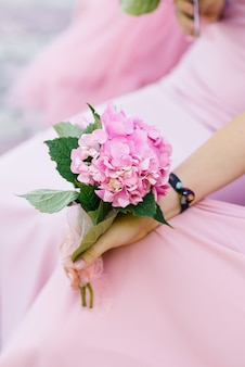 A branch of beautiful pink hydrangea in the hands of a girl in a pink dress