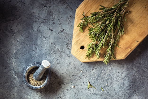 Branch bunch fresh rosemary spices