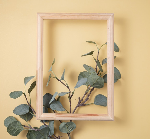 Branch  eucalyptus and wooden frame on yellow background