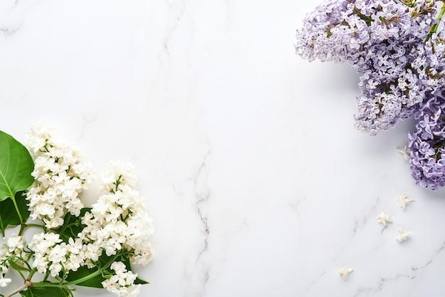 회색 배경에 아름 다운 흰색 라일락의 분기입니다. 평면도. 결혼식, 행복한 여성의 날 발렌타인, 어머니의 날을 위한 모란이 있는 축제 인사말 카드.
