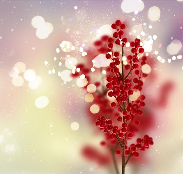 Филиал рождественских красных ягод на фоне боке