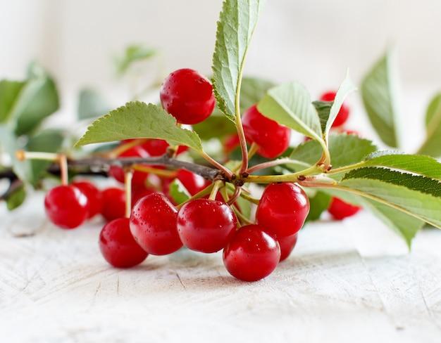 Филиал свежей вишни на деревянном столе