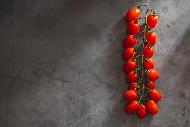 Филиал красных спелых помидоров черри на сером каменном фоне. креативный макет
