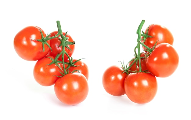 Branch of tomatoes isolated on a white background