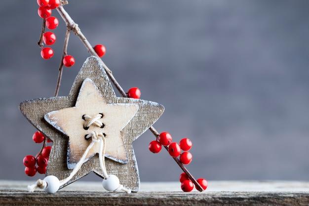 赤い果実、クリスマスの装飾が施されたブランチ。