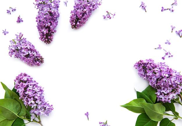 白い表面にライラックの枝と花