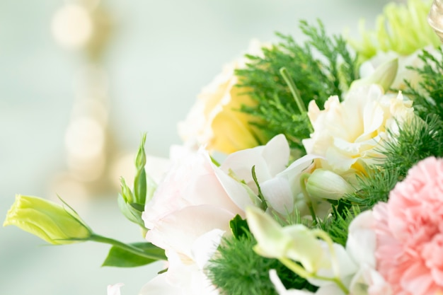 Branches of beautiful flowers bouquet wedding decoration