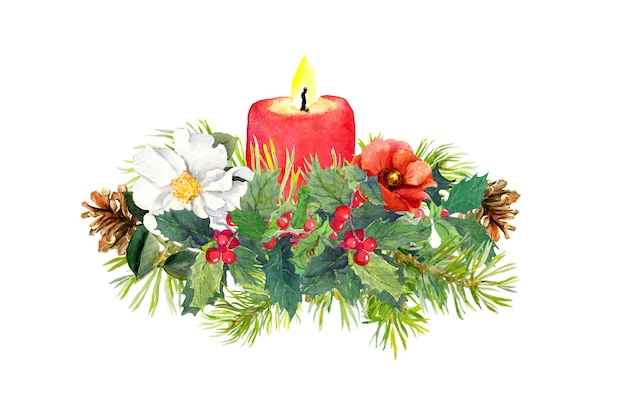 Branches of christmas tree, candle, holly plant, flowers composition