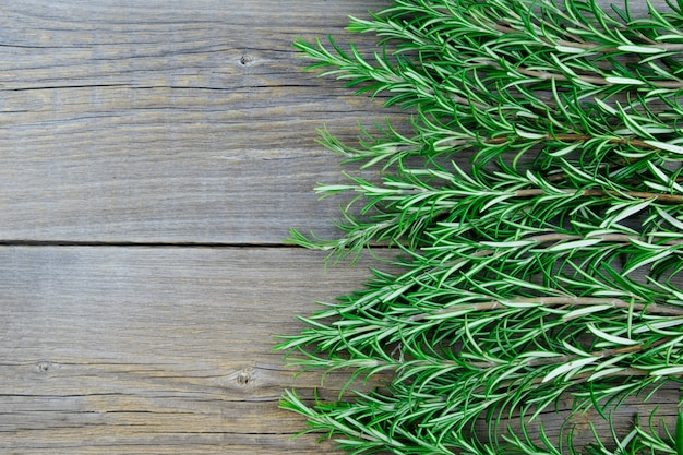 Branches of fresh green bio rosemary on wooden old boards.