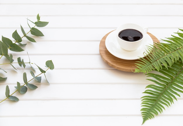 Branches of green eucalyptus, fern and cup of black coffee.