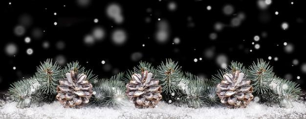 雪が降る黒い背景に雪の中で円錐形のクリスマスツリーの枝