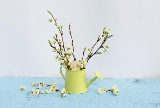 水色の背景に薄緑色の花瓶に白い花を持つ木の枝。春のフラワーアレンジメント