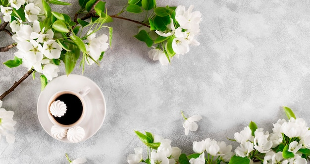 Branches of a white blooming apple tree and a cup of coffee