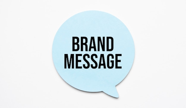 Brand message speech bubble isolated on the yellow background.
