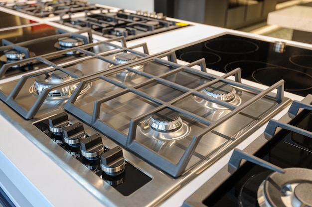 Brand new gas stove in store showroom