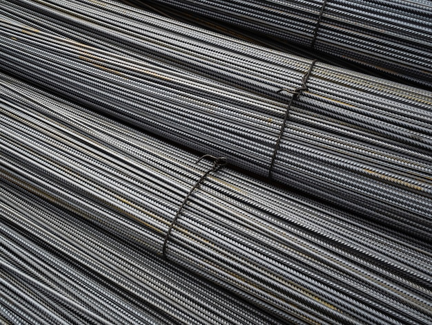 Brand new metal bars. clean fittings for construction. a large number of tied iron rods