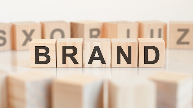 Brand word made with building blocks, concept.