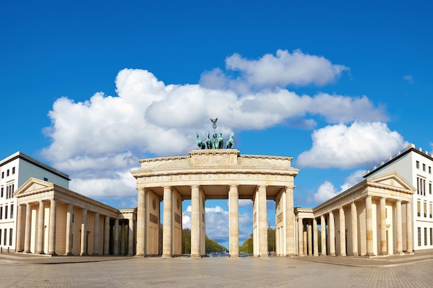 Brandenburg gate in berlin, germany with blue sky and clouds