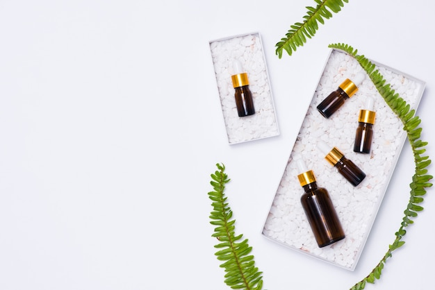 Макет брендинга. натуральное эфирное масло. концепция продукта естественной красоты.