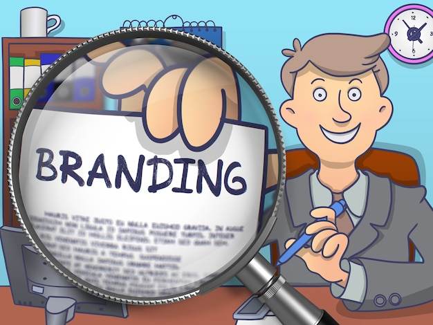 Branding. stylish businessman in office workplace shows paper with text through lens. colored doodle style illustration.