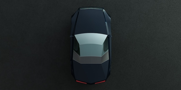 아스팔트 도로에 브랜드가없는 전기 ev 컨셉 카. 내 자신의 창의적인 디자인으로 3d 렌더링.