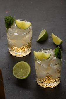 ブランデーまたはライトラム酒と氷の暗闇