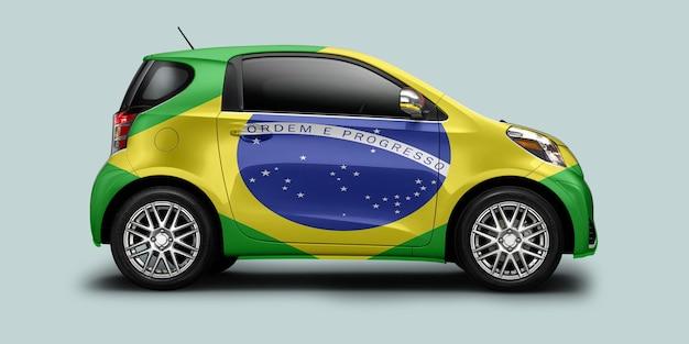 ブラジルの国旗が付いているブラジルの車