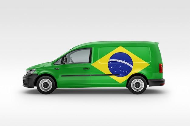 ブラジルの旗が付いているブラジルのバン