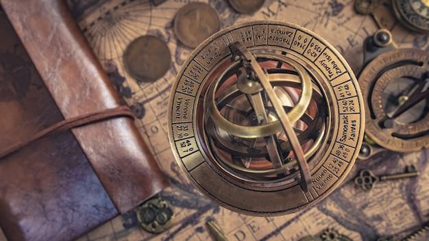 Brass armillary zodiac sign globe