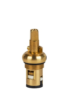 Brass faucet parts cartridge for water valve isolated