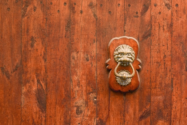 Латунная ручка в виде головы льва с кольцом в зубах на старинных деревянных воротах.