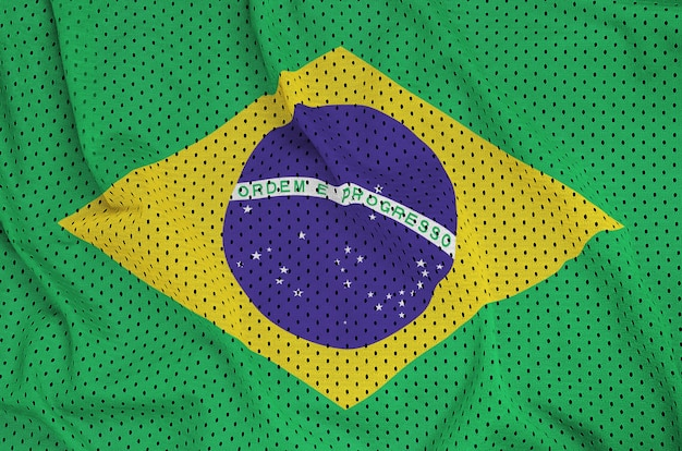 Brazil flag printed on a polyester nylon sportswear mesh fabric