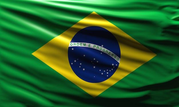 바람에 물결치는 브라질 국기 브라질 국가 배경의 국가 상징