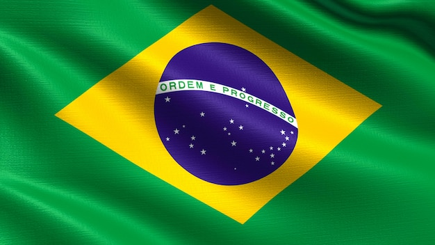 Brazil flag, with waving fabric texture