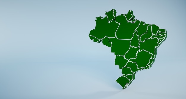 Brazil map with states and regions