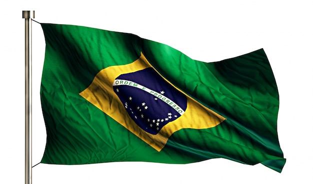 Brazil national flag isolated 3d white background