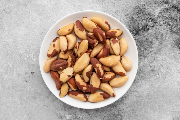 Brazil nuts close up. breakfast, healthy food. it can be used as a background